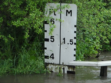Buttsbury Wash flood marker