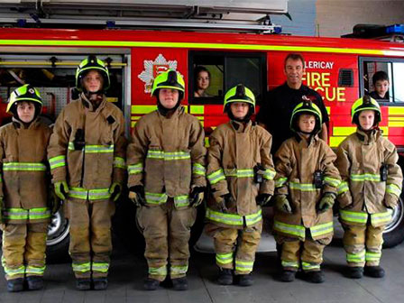 Children at Billericay Fire Station